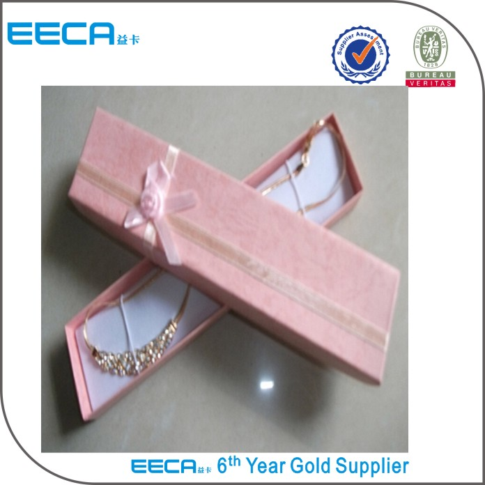 Sweet necklace rectangle gift box pink satin/antique jewelry boxes for sale in China
