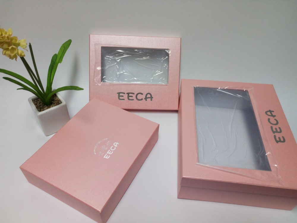 Transparent window box Pink color special paper handmade PVC packaging box with PVC window