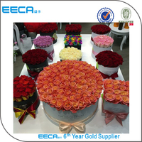 Luxury white different round flower box/Cylindrical flower box/rose box size in gold hot stamping wholesale in EECA