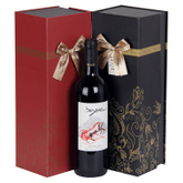 2017 Luxury Handmade Custom Single Cardboard Magnet Wine Packaging Box With Ribbon good box wine/wine crate