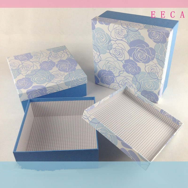 2017 Recycled Paper Gift Packaging Box/Cosmetic Package Box/Square box for flowers packaging made in China